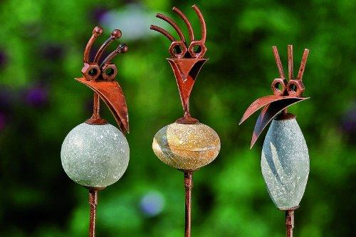 kuheiga 3er Set Gartenstecker Vogel mit Stein