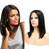Dai Weier Perruque Femme Bresilienne Lace Frontal Cheveux Humain Glueless Bob Wig Lisse Vierge Hair avec Naturel Hairline 150 Densité 14 inch