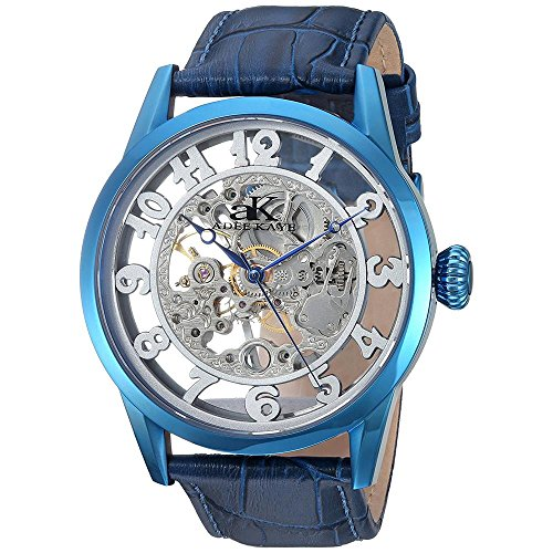 ADEE KAYE MEN'S 46MM BLUE GENUINE LEATHER BAND MECHANICAL WATCH AK2296-MIPBU