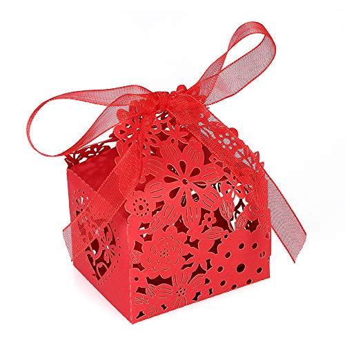 Decdeal caramella scatolina,10pcs delicato fiore intagliato elegante scatole di caramelle con il nastro per la festa di compleanno di nozze banchetto asilo doccia nuziale - viola