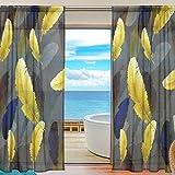 Yibaihe fenêtre Sheer Rideaux Panneaux fenêtre Traitement de Lot de voile en tulle Drapes Rideaux Doré plumes de pour le salon Chambre de chambre 2panneaux, 140cm x 213cm