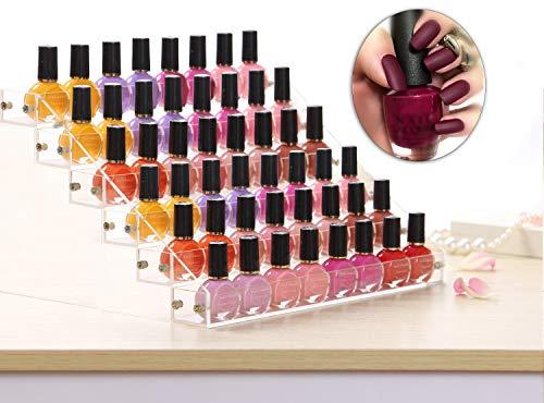 Support de vernis à ongles de 6 niveaux - Transparent Organisateur de rangement en acrylique - Présentoir de vernis à ongles pour table contenant 48 bouteilles