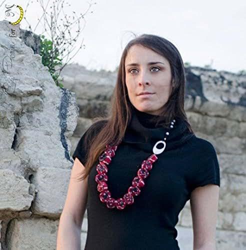 comprare popolare 1dae7 d01ff Collana di stoffa con perline e fili di aluminio, Perline di ...