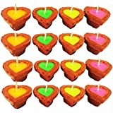 Grasme® Made In India Handmade Pack Of 12 Little Heart Fancy Deepak Wax Filled Candles For Diwali Pooja (Multicolor, Box Size 18 X 14 X 3 Cm)