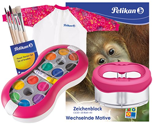 Pelikan Deckfarbkasten Space+ 735 SP/12 mit 12 Farben und 1 Tube Deckweiß (Komplett-Set magenta mit Space-Becher + Malschürze + Pinsel-Set + A3 Block)