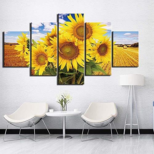xwwnzdq 5 stücke wandkunst malerei Bild Sonnenblumen leinwand malerei wandbilder Poster und drucke für Wohnzimmer wohnkultur kein Rahmen
