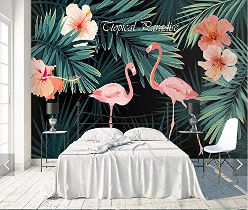 lder Seide Tapete 3D Wandgemälde Tropische Blumen Flamingo Tapete Wandgemälde 3D für Wand Dekor handgemalte Kontaktpapier Wandgemälde Wand Papier Fernsehhintergrundwand Badezimmer ()