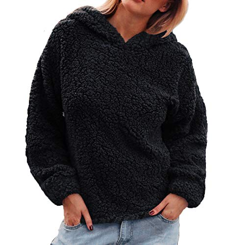 iHENGH Damen Tops,Women Warmer KüNstlicher Wollmantel Hooded Sweatshirt Winter Parka Oberbekleidung Crop Shirt Tops