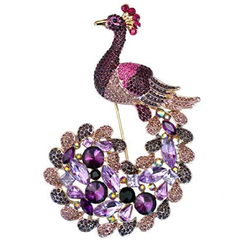 ZWLZQ Broschen Brosche Lila kristall Strass pfau brosche schmuck große brosche Tier kostüm modeschmuck Gold-Farbe