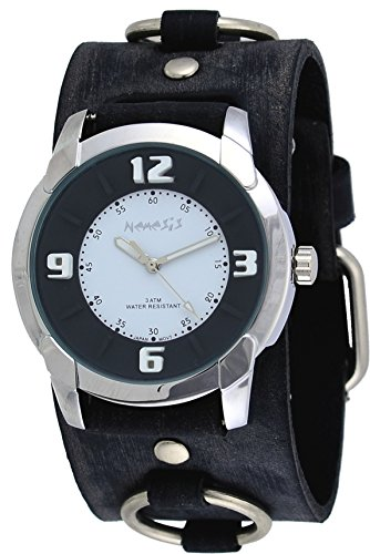 Nemesis #FRB106KW Men's Embossed Design Collection Grey Distressed Wide Leather Cuff Band Watch