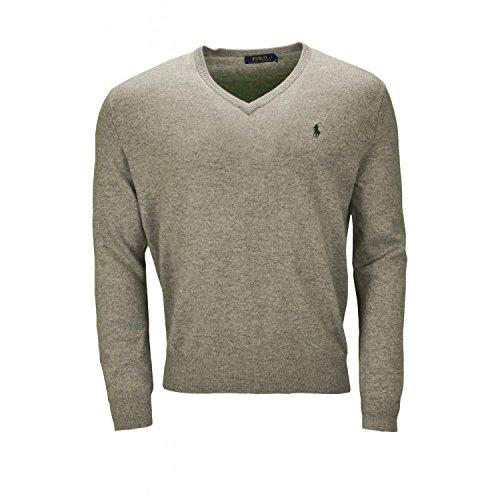 RALPH LAUREN - Pull col V Ralph Lauren en laine gris pour homme - Gris, L