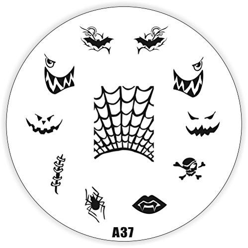 Halloween Stamping Schablone A37 - Kürbis Dracula Totenkopf Fledermaus Spinne u.a.