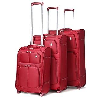 Aerolite Super ligero mundo ligero Maleta de casos Bolsa equipaje (3Pcs, de vino (2ruedas))