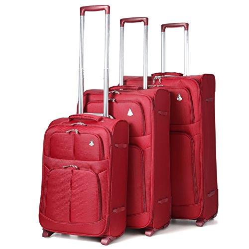 Aerolite Leichtgewicht 2 Rollen Trolley Koffer Kofferset Gepäck-Set Reisekoffer Rollkoffer Gepäck, 3 Teilig , Wein