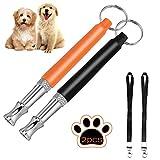 Dalmit 2 Hunde Training Pfeife Ultraschall (Edelstahl) Professionelle,Antibell Einstellbaren Frequenzen,2 Gratis Lanyard Strap (Schwarz + Orange)