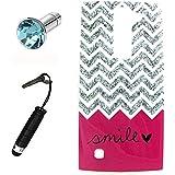 Lusee® la caja silicone de TPU del gel para LG Magna / G4C Funda Cáscara La caja posterior a parachoques La caja posterior de cubierto + el estilo Touchpen gratuido,el enchufe de polvo prueba rosa sonrisa de la corazón