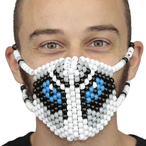 Big Bad Wolf Surgical Kandi Mask by Kandi Gear, rave mask, halloween mask, beaded mask, bead mask for music fesivals and ()