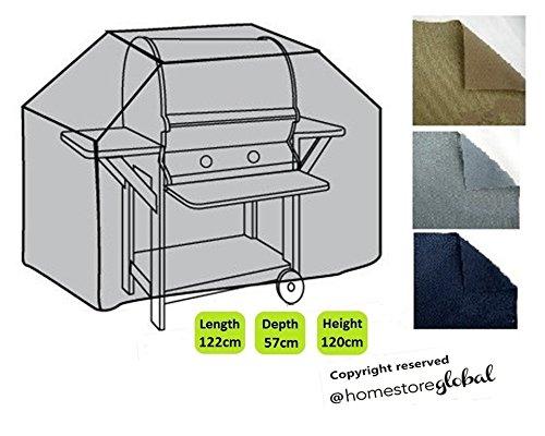 HomeStore Global groß Schutzhülle für Gasgrill, Dicke & Hochwertiges strapazierfähiges 600D Polyester Canvas mit Doppel genähte Nähte für extra Stärke, All-Wetter-beständig und anti-Feuchtigkeit -Grau