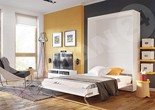 Mirjan24  Schrankbett Concept Pro I Vertical, Wandklappbett inkl. Lattenrost, Bettschrank, Wandbett, Schrank mit integriertem Klappbett, Funktionsbett, Farbauswahl, (140×200 cm, Weiß) - 4