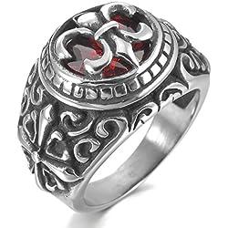 MunkiMix Acero Inoxidable Anillo Ring Cz Cubic Zirconia Circonita El Tono De Plata Negro Rojo Celta Celtic Medieval Cruzar Cruz La Flor De Lis Oval Ovalada Sello Talla Tamaño 25 Hombre