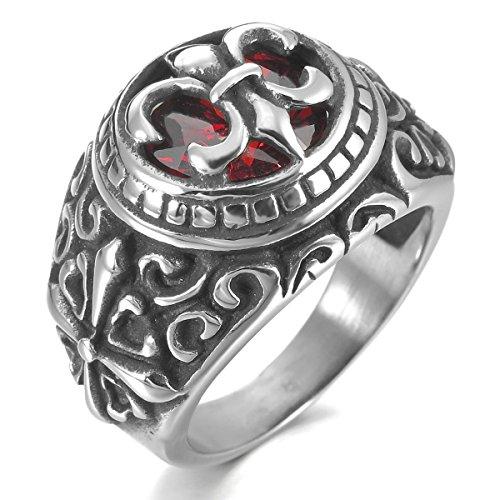MunkiMix Edelstahl Ring CZ Zirkon Zirkonia Silber Ton Schwarz Rot Keltisch Mittelalterlich Mittelalter Kruzifix Kreuz Ritter Fleur De Lis Oval Siegel Signet Größe 62 (19.7) Herren (Cz Hochzeit Ringe Größe 5 1 2)