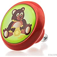 Pomello in ceramica per mobili 03422r BRK–rosso–178miele Baer per i bambini e camerette dei bambini, giovani e anziani, con effetto plastischem–100% Made in Germany