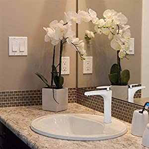 Grifo lavabo fregadero alto cascada Grifería Agua Fría y Caliente blanca Diseño