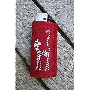 zigbaxx Feuerzeughülle CAT aus Woll-Filz mit Katze Kätzchen aus Strass – für BIC Feuerzeuge und div. Einwegfeuerzeuge…