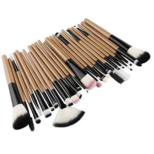 Moonuy Neue 15 Stk,18 Stk,20 Stk Make-up Pinsel Set, Make-up Augenbrauen Mascara Pinsel, Schwamm Pinsel, Smudge Pinsel Toilettenartikel Wolle Make Up Pinsel Set (Gelb (25 Stk Set)) (Gelb Make-up-pinsel)