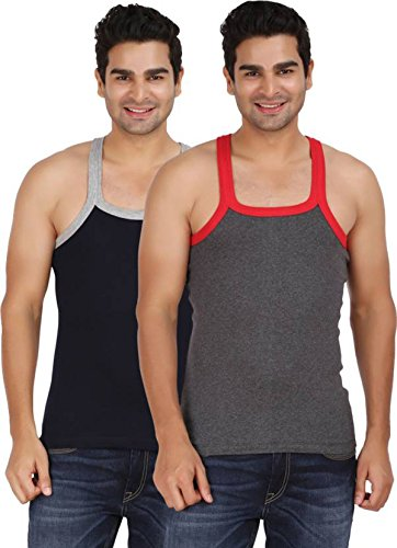 Macho Sporto Men's Cotton Gym Vest Stretchable Vest Pack of 2