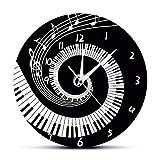 Mzdpp Elegante Klaviertasten Schwarz Und Weiß Moderne Wanduhr Musik Noten Wave Runde Musik Tastatur Wanduhr Musik Liebhaber Pianist Geschenk