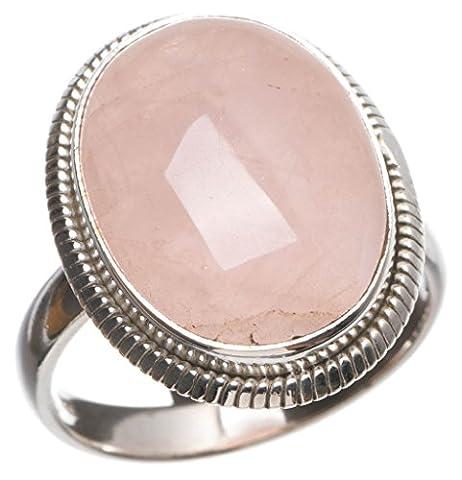 StarGems(tm) Natural Rose Quartz Handmade Indian 925 Sterling Silver Ring, UK size P