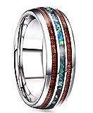 NACOLA Holz Abalone Muschel Intarsien Titan Ehering Ring für Männer Frauen-8mm