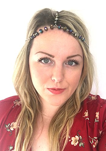 Perle AB d'argent Bandeau Tête Chaîne Bandeau de cheveux Boho Festival Coiffe 814 * exclusivement Vendu par Starcrossed Beauty *