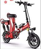 Cocow Bicicletta elettrica pieghevole a due posti 48V 30Ah bici elettrica neve bici elettrica rimovibile batteria agli ioni di litio pendolare Ebike per adulti 3 modalità di guida (nero/rosso) Red-1
