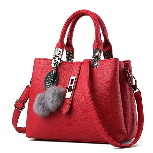 KAMIERFA Designer Collection Fashion Handbag with Pompon Pendant, Classic Women Purse, Handbag for Women Satchel Purse, PU Leather