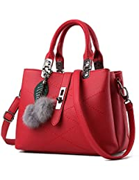 KAMIERFA Designer Collection Fashion Handbag with Pompon Pendant, Classic Women Purse, Handbag for Women Satchel Purse, PU Leather