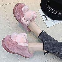 manxuecao Ladies House Slippers,Animal elephant plush warm cotton slippers,Men