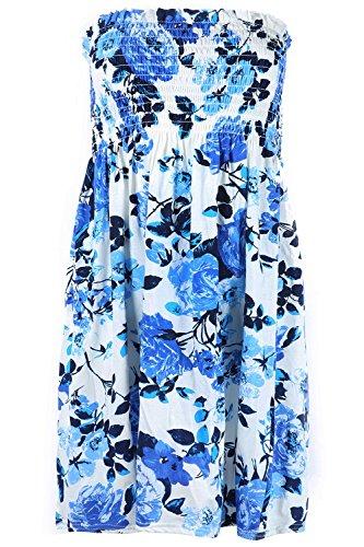 Oops Outlet pour femmes Floral d'été Sunny Impression froncée façon bustier froncée évasé Swing Bandeau bustier Taille plus Crème/bleu roi floral