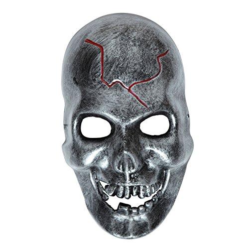 Kopf Maske Metall (Widmann 9821K Totenkopf Maske Metalloptik, One)