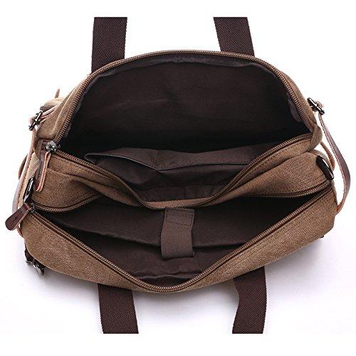 &ZHOU Segeltuchtasche, Großer Kapazität Leinwand Schulter Taschen, Multi-Use portable Messenger Tasche Rucksack Männer und Frauen reisen Khaki