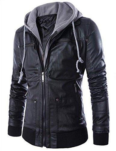 Yasong Herren Jugendliche Zip Up Hooded Long Sleeve PU Jacke Kunstleder Casual Jacke EU XS