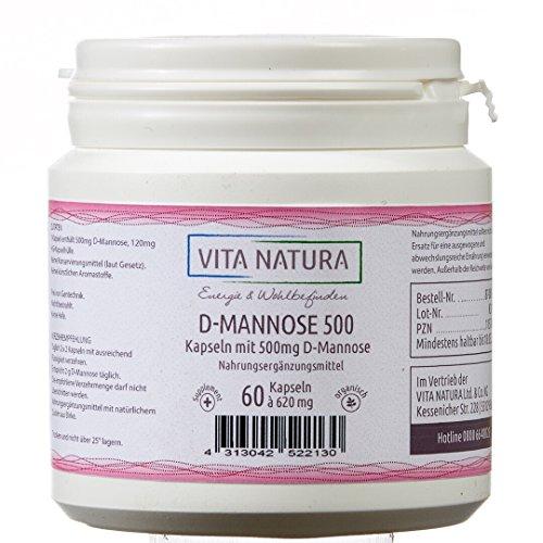 Vita Natura D-Mannose Vegi-Kapseln 500mg, 1er Pack (1 x 60 Stück / 45 g) - 500 Mg 60 Vegi-kapseln