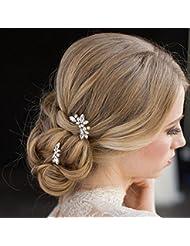 Aukmla Hochzeit Haarnadeln Strass Kristall Brautschmuck Haarschmuck für Braut und Brautjungfer (Silver)