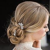 Aukmla, forcine da sposa e damigella,incristallo e perle color argento, fermaglio per capelli per donne e ragazze (confezione da 3)