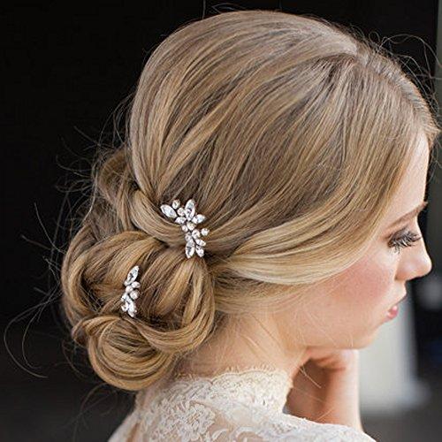 aukmla Hochzeit Haarnadeln Brautschmuck Haarschmuck Folien Kristall Silber Farbe Haarspangen für Frauen und Mädchen (Pack von 3)