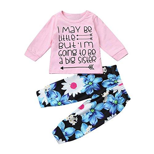 FEITONG Baby Jungen Mädchen Briefdruck Big Sister Tops + Blumen Hosen 2pcs Bekleidungssets (Rosa, 18M) (Big Sisters Rock)