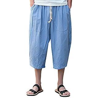 Innerternet Men Pants Slim Sports Calf-Length Linen Baggy Harem Trousers Sky Blue