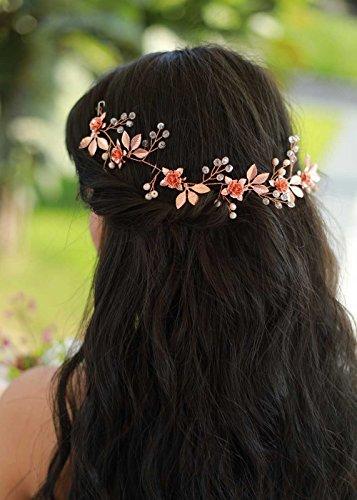 gracewedding novia y boda oro rosa Back accesorio de Grecian pelo Vine novia–boda Vintage corona accesorios para el pelo