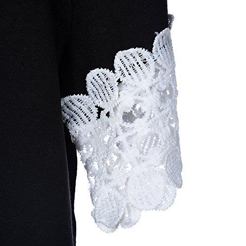 Yogogo Mode Femme col rond manches courtes T-shirt en dentelle Casual court Blouse Noir